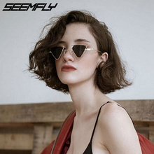 Seemfly Vintage Punk Triangle Sunglasses Women Men Metal Frame Black Red Yellow Pink Steampunk Sun Glasses Retro UV400 Shades