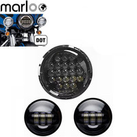 1pcs 5D 126W 7 Inch Headlight Led Motorcycl Round Headlamp With 2 pcs 4.5 Inch Led Passing Lamps Fog Spotlight Set