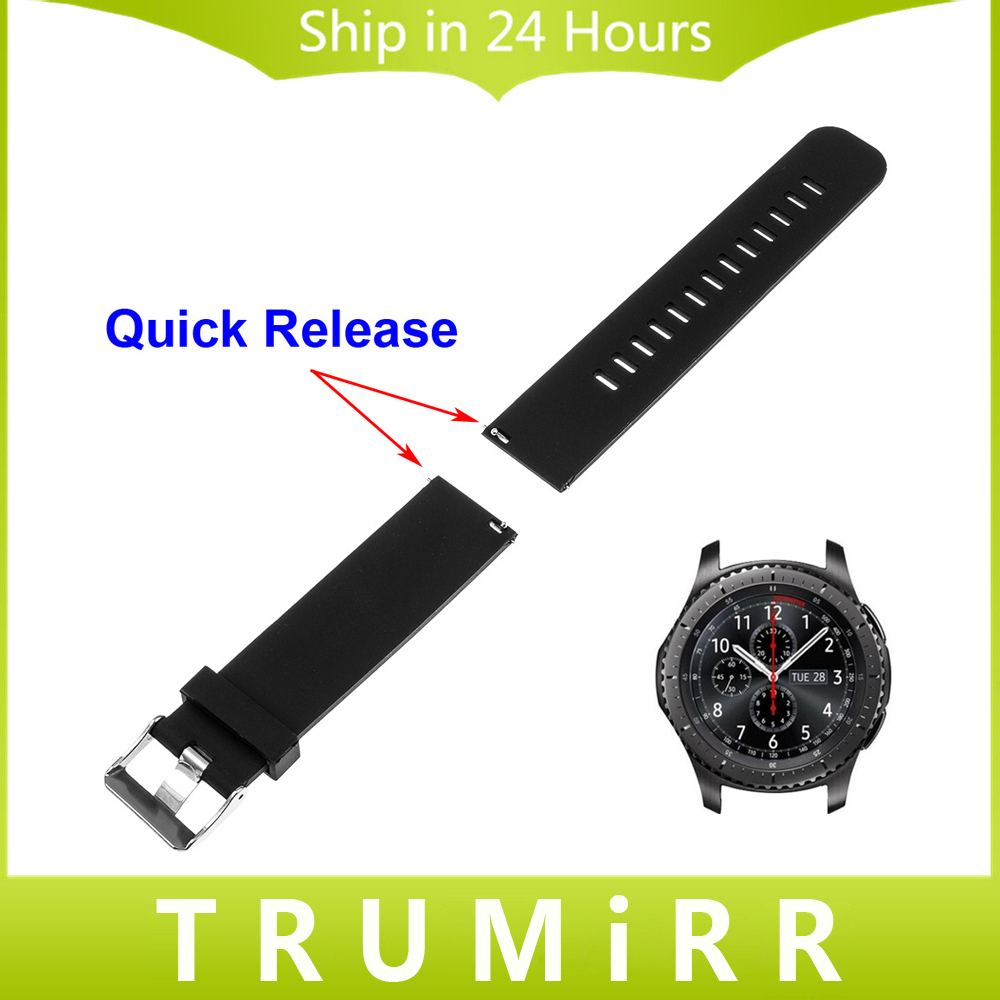 22mm Quick Release Silicone Rubber Watch Band for Samsung Gear S3 Classic Frontier Garmin Fenix Chronos Wrist Strap Bracelet crested sport silicone strap for samsung gear s3 classic frontier replacement rubber band watch strap for samsung gear s3