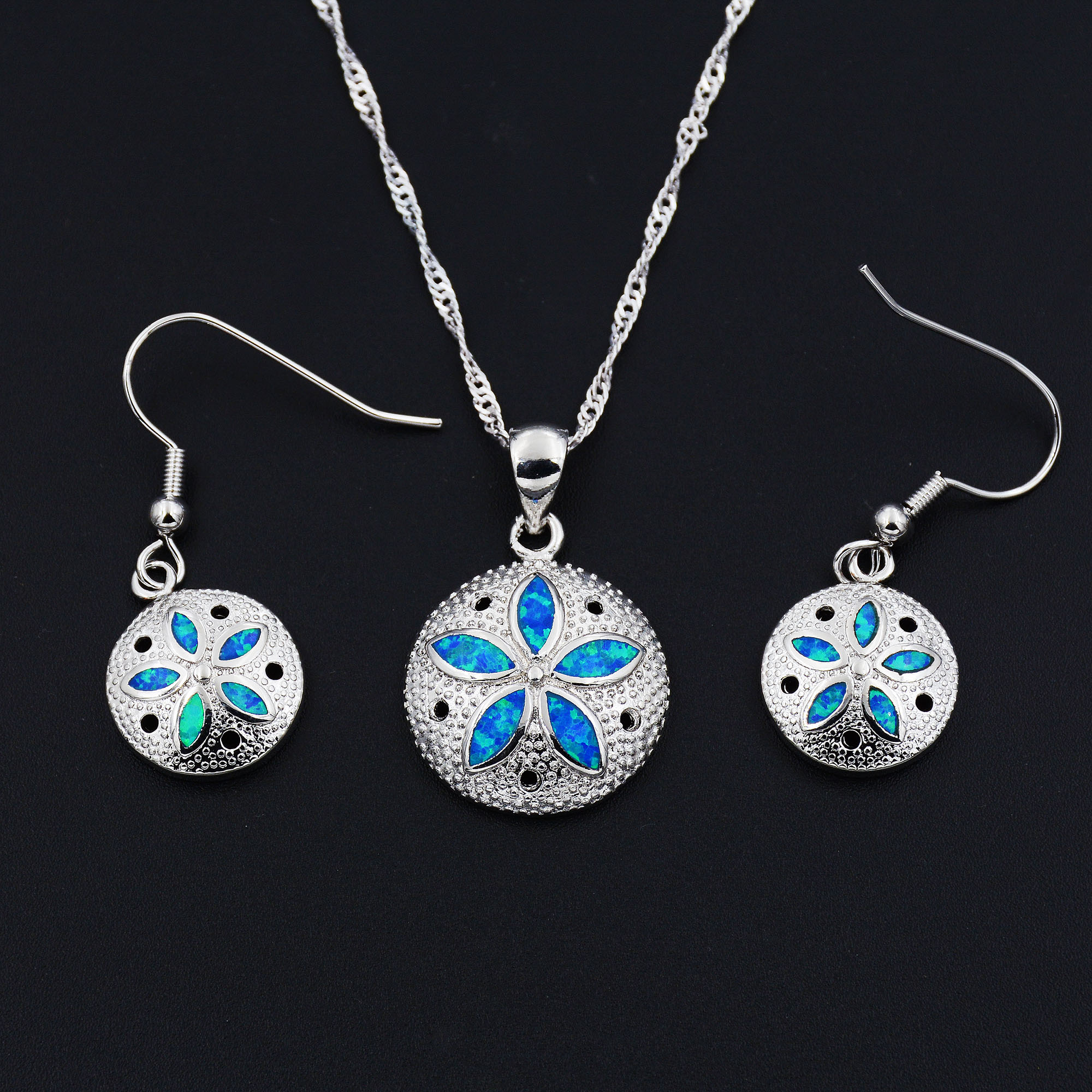 Necklace Earring with Sand Dollar Starfish Artsy Ocean Inspired Jewelry Set