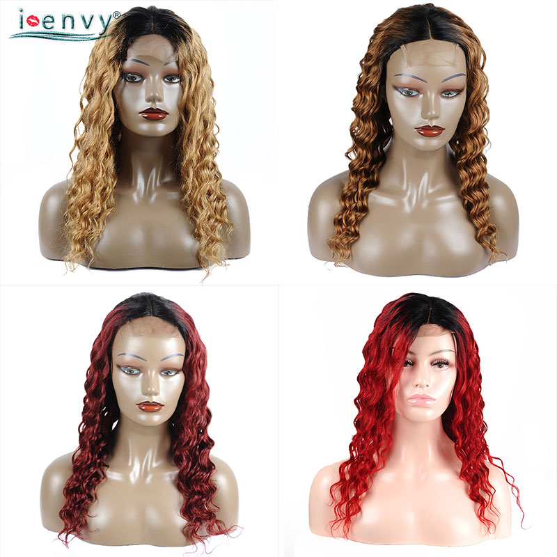 Colored Red Lace Front Human Hair Wigs Brazilian Ombre Lace Wig For Woman Honey Blonde Lace Front Wigs With Dark Roots Non Remy