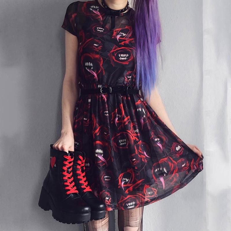Women Mesh Sexy Dress Gothic Punk Black Red Mini Short Sleeve Dress Print Patchwork See-through Party Club Hallowen Cool Dresses