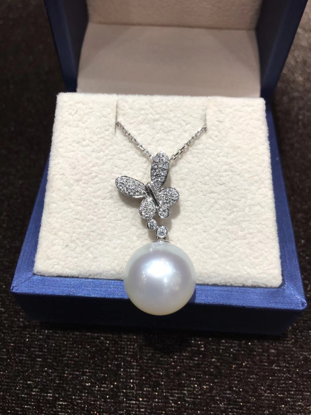 13-14MM Natural Southsea Pearl Pendant White Pearl 18K White Gold With Diamond Butterfly Pendant Fine Women Jewelry