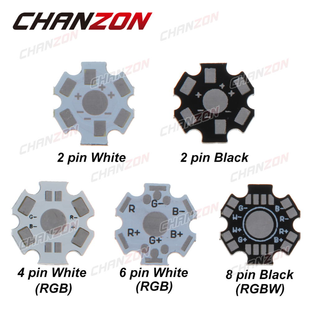 CHANZON 1 W 3 W 5 W LED plaque de Base en aluminium PCB conseil dissipateur de chaleur substrat 20mm Star Kit bricolage refroidissement dissipateur thermique 20mm pour 1 3 5 W Watt
