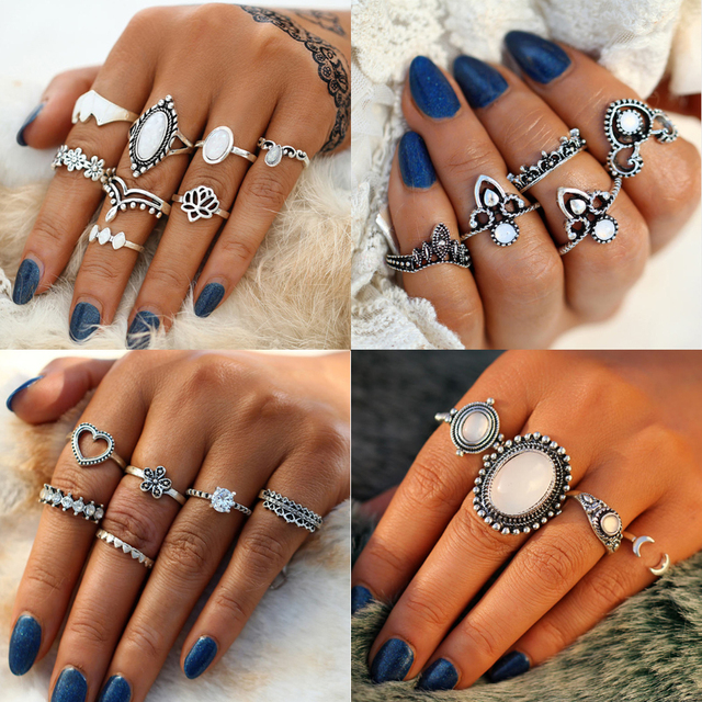 17KM Big Opal Stone Knuckle Rings Set For Women Antique Silver Color Flower Midi