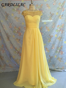 Plus Size Long Bridesmaid Dresses 2019 Yellow Chiffon Wedding Party Gown Cap Sleeves Maid of Honor Long Prom Gown