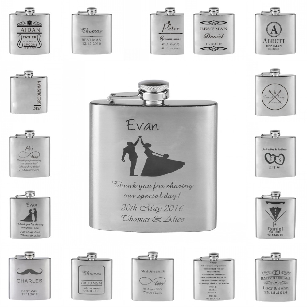 Wedding Gifts Best Man: Personalized Engraved 6oz Hip Flask Stainless Steel