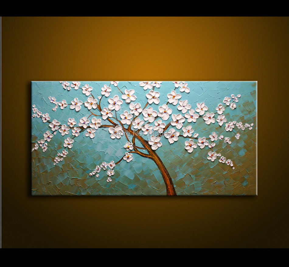 Oil Painting On Canvas Palette Knife Blue White Flowers Painting