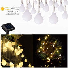 Solar Rattan Balls Led String Fairy Lights Luminaria Outdoor Garland Indoor Home Christmas Wedding Party Decoration Night Lamp(China)