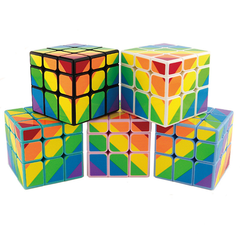 YJ Rainbow Sticker 3x3 Magic Speed cube 5 colors Puzzle Cube Educational Learning Toys Magico Cubo Mirror Cube велосипед cube stereo 160 hpa race 27 5 2015