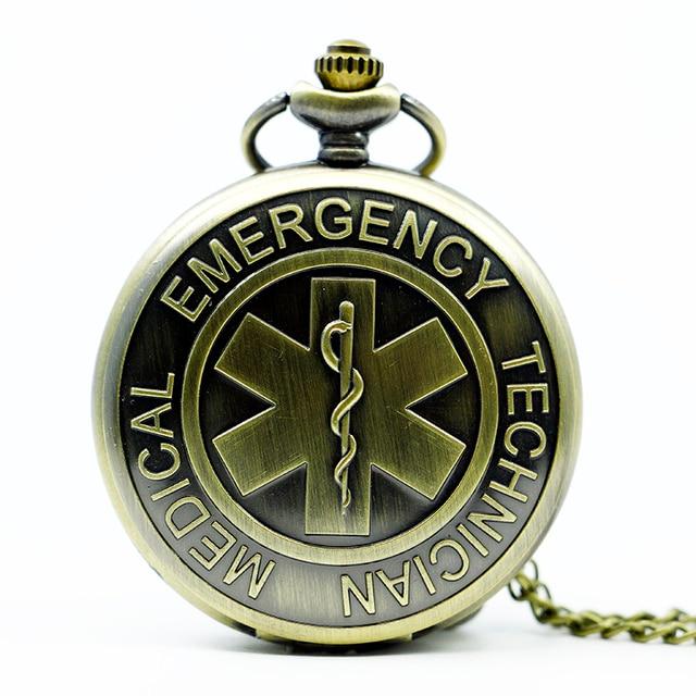 Men Women 2016 Bronze Technical Medical Emergency Quartz Pocket Watch With Neckl
