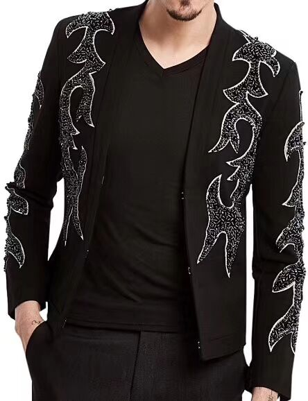 100%real Luxury Mens Black Beading Sewing Fashion Red Carpet Jacket Club/stage Performance/studio/Asia Size/this Is Only Jacket