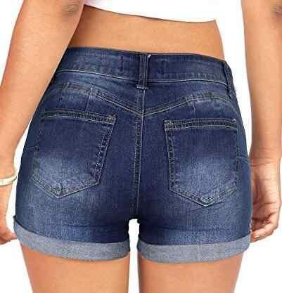 กางเกงยีนส์กางเกงขาสั้นกางเกงขาสั้นผู้หญิงยืดหยุ่นสูงเอว DENIM BLUE สีดำสั้นหญิง Enhancing DENIM กางเกงขาสั้น PLUS ขนาดเซ็กซี่