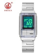 Original OHSEN de Moda de Las Mujeres Relojes Digitales Reloj de Mujer Reloj de Señora Banda de Acero Completo LED 50 m de Natación Reloj de Pulsera Electrónica Relogio