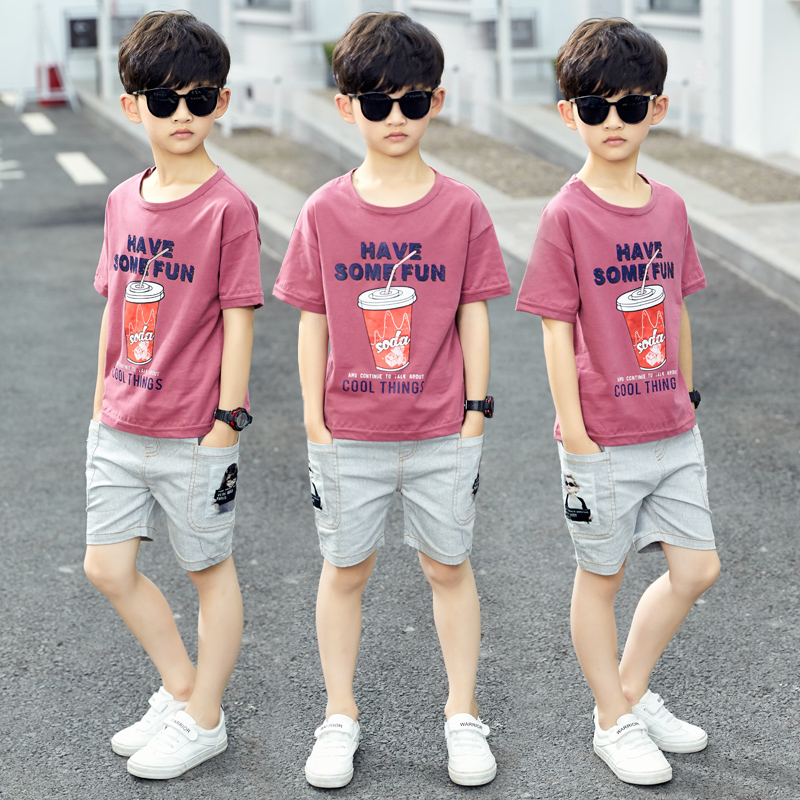 Kids Clothes Boys Clothing Set 2019 Summer Children Sports Suit Print Short Sleeve Shirt + Shorts Teenage Boy Tracksuit 9 10 12