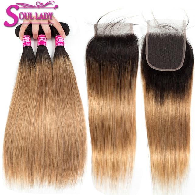 Soul Lady Ombre Bundles With Closure 1b27 Blonde Ombre Brazilian