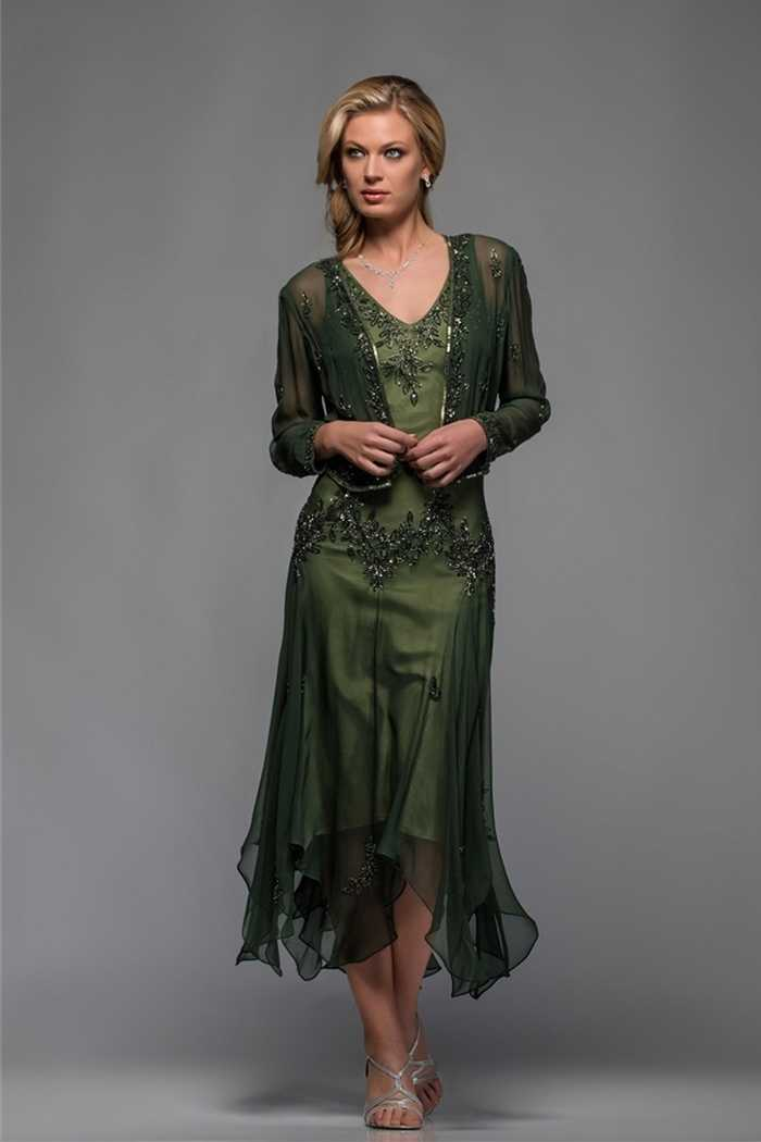Olive green beaded pattern V-neck handkerchief women outfit plus size  chiffon tea length mother of the bride dresses with jacket