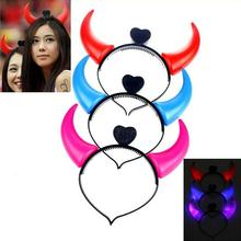 Free shipping 4pcs/Lot New 3D LED Flashing Headband Lighting Up Halloween OX Devil Horns Headband Toy hairpin Cosplay Accessory