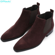 2019 Classic Chelsea Boots Men Handmade Suede Ankle Boots Genuine Leather Pointed Toe Men's Shoe Wedding Office Botas