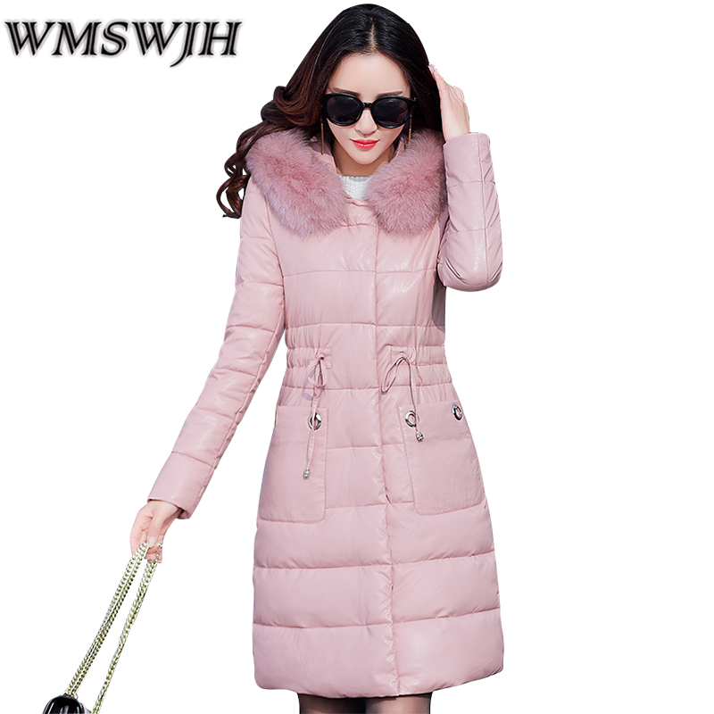 High Quality Parkas Fashion Women PU Leather Coat Winter Large size Thick Warm Women Outwear Fur Hooded Slim Down Cotton Jacket