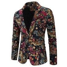 2018 Christmas Designer Men Clothing Mens Blazer Print Jackets Stylish Fancy Floral Print Slim Fit Males Suits Blazers XXXL