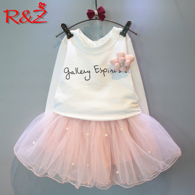R&Z 2018 Lovely Girls White Tee Shirt and Pink Skirt With Rhinestone Clothes Set for Kids Girl Autmn Children Clothing Sets k1