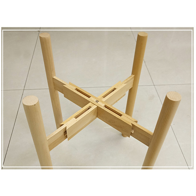 Newly Adjustable Plant Stand Holder Rack Wooden Sturdy for Flower Potted Indoor Outdoor
