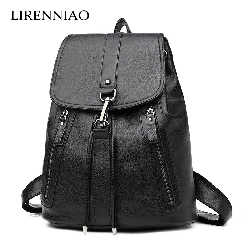 LIRENNIAO Women Backpack High Quality Leather Mochila Escolar School Bags For Teenagers Girls Top-handle Backpacks Fashion