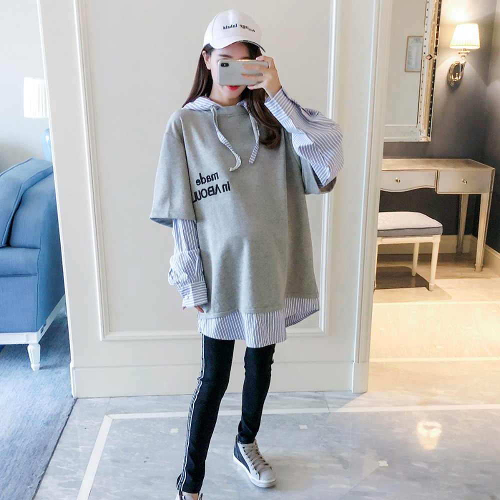 Pregnant women autumn sweater 2018 new fashion stitching letters hooded shirt Korean version of loose casual fake two Pregnant women autumn sweater 2018 new fashion stitching letters hooded shirt Korean version of loose casual fake two