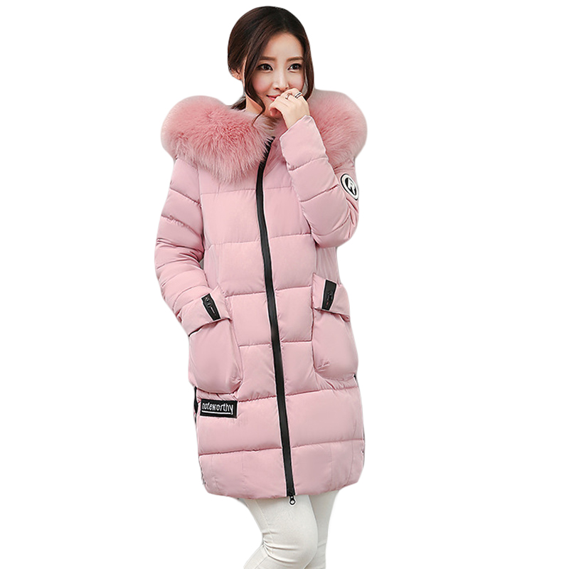 Fashion 2017 Women Winter Jacket Warm Fur Hooded Parkas Female Long Casual Cotton-padded Thickening Winter Coat Outwear CM1412 high quality 2pcs new 21 6v 2800mah rechargable li ion battery for dyson v8 vacuum cleaner