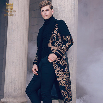 fashion casual man male Men's long slim warm coat autumn winter embroidery Baroque