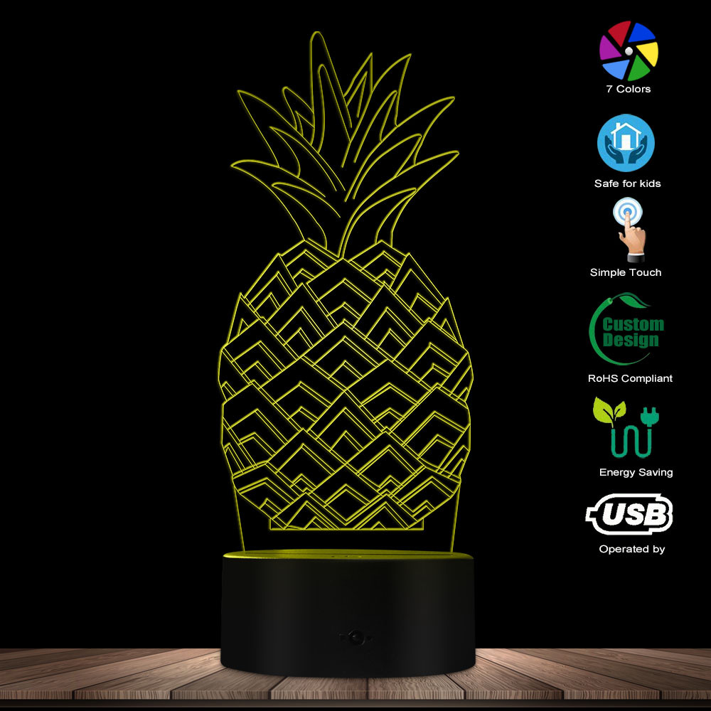3D Pineapple LED Lamp Pineapple Fruit Gift Idea Kid Room Sleepy 3D Optical Illusion Night Light Modern Handmade USB Visual Lamp