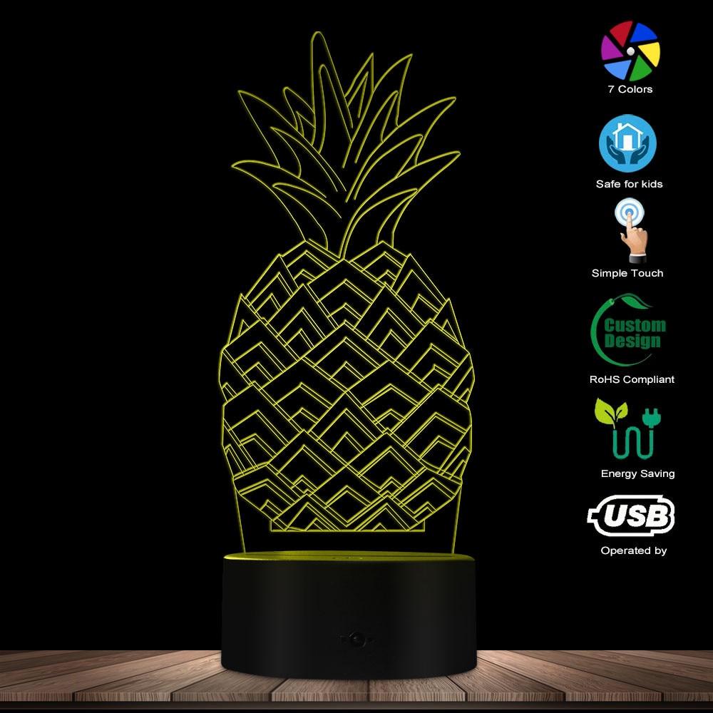 3D Pineapple LED Lamp Pineapple Fruit Gift Idea Kid Room Sleepy 3D Optical Illusion Night Light Modern Handmade USB Visual Lamp