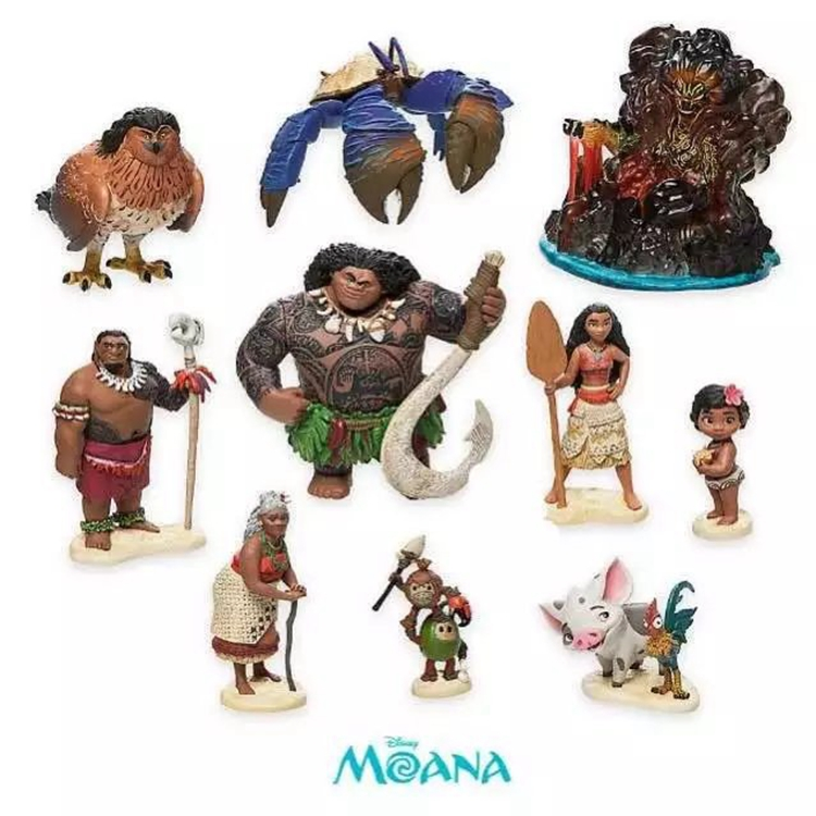 Princess Moana Maui Figure Set Juguetes Figura Prinzessin Moana Heihei Hei Hei Pua Pig Action Toy Figure Boneca Accessories Gift gonlei moana waialiki maui heihei abs weapons light sound saber fishing action figures moana adventure abs toy lightsaber gift