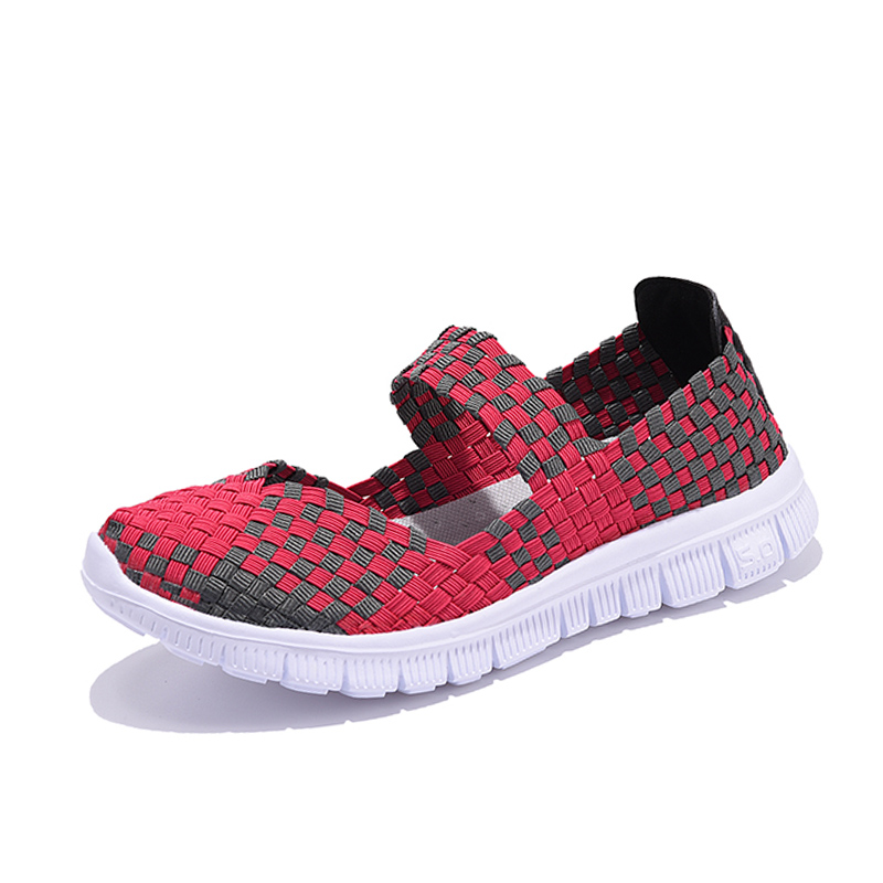 Women Woven Shoes 2018 Summer Breathable Handmade Shoes Fashion Comfortable Women Flats Casual Sneakers Sandals Big Size 35-42