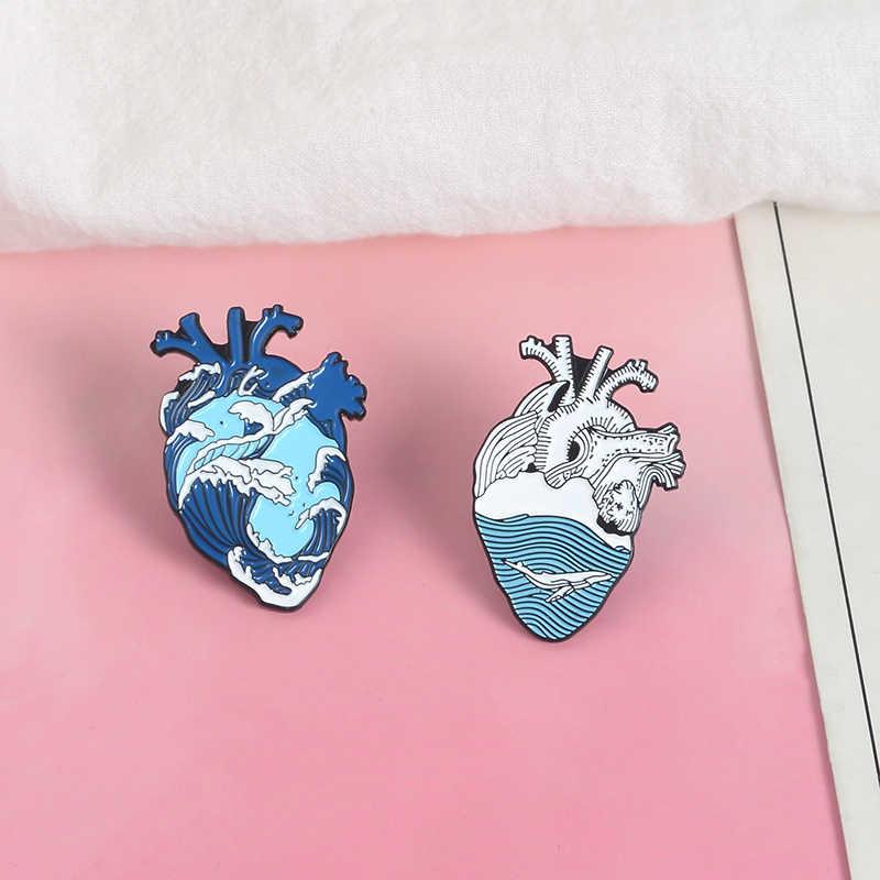 Qihe Perhiasan Gelombang Laut dan Paus Pin Biru Hati Manusia Kerah Pin Anatomi Jantung Enamel Pin Anatomi Jantung Lencana