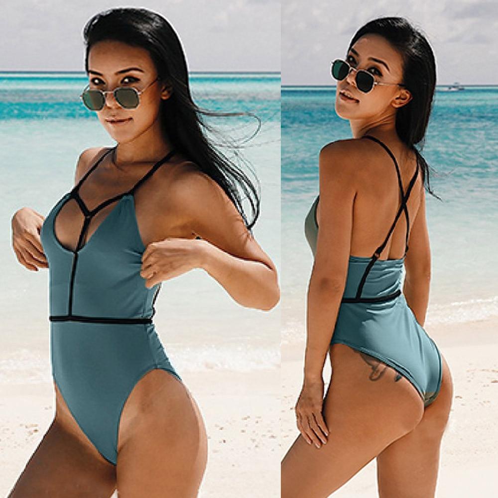 Womail Swimwear Women 2018 one piece swimsuit monokini Sexy Solid Beach Green Bikini Padded Bra Swiming suit #1727