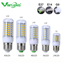 Ultra Bright SMD5730 E27 E14 G9 LED lamp 7 12 15 18 20W 220V 110V 360 angle LED Corn Bulb light Chandelier 24 36 48 56 69 Led