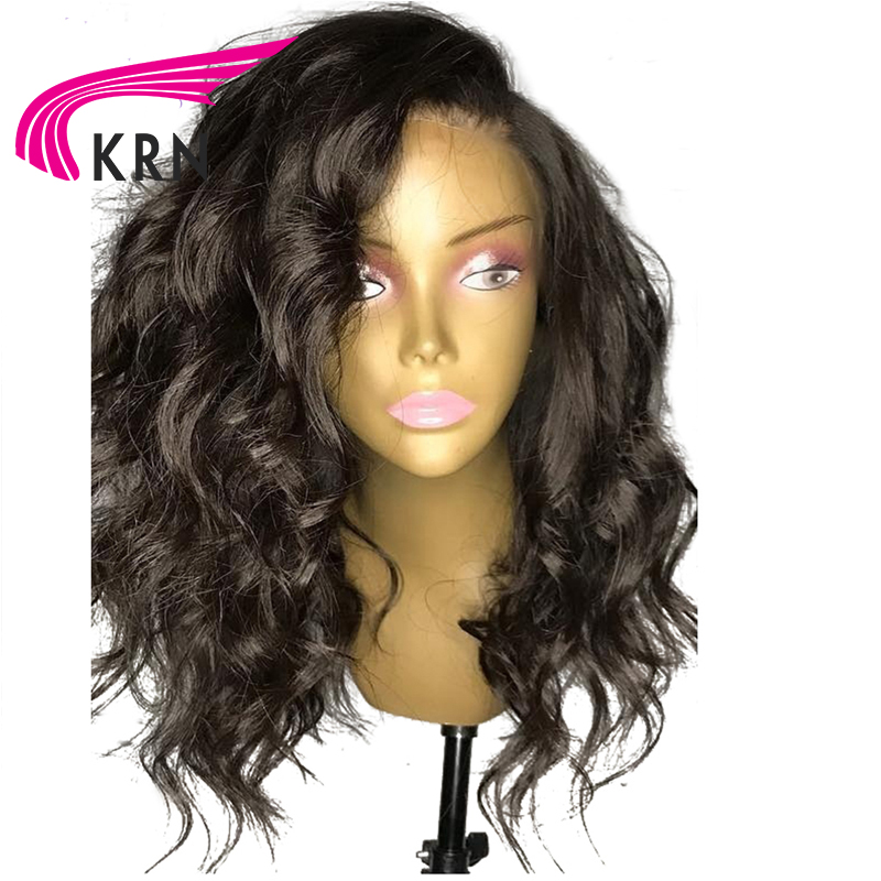 KRN Pre Plucked Lace Front Human Hair Wigs With Baby Hair 130 Density Wavy Remy Hair