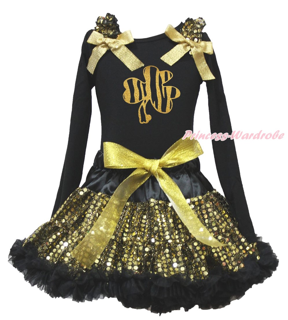 St Patrick Clover Bling Rabbit Paint Black L/s Top Gold Bling Sequins Girls Skirt Outfit Set 1-8Y white top my 2nd st patrick day clover green bling sequins girls skirt set 1 8y