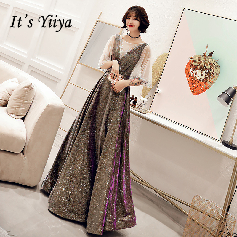 It's Yiiya   Prom   Gowns Coffee Red O-neck Crystal Illusion Half Sleeves Bling A-line Floor length Party Plus size   Prom     Dress   E432
