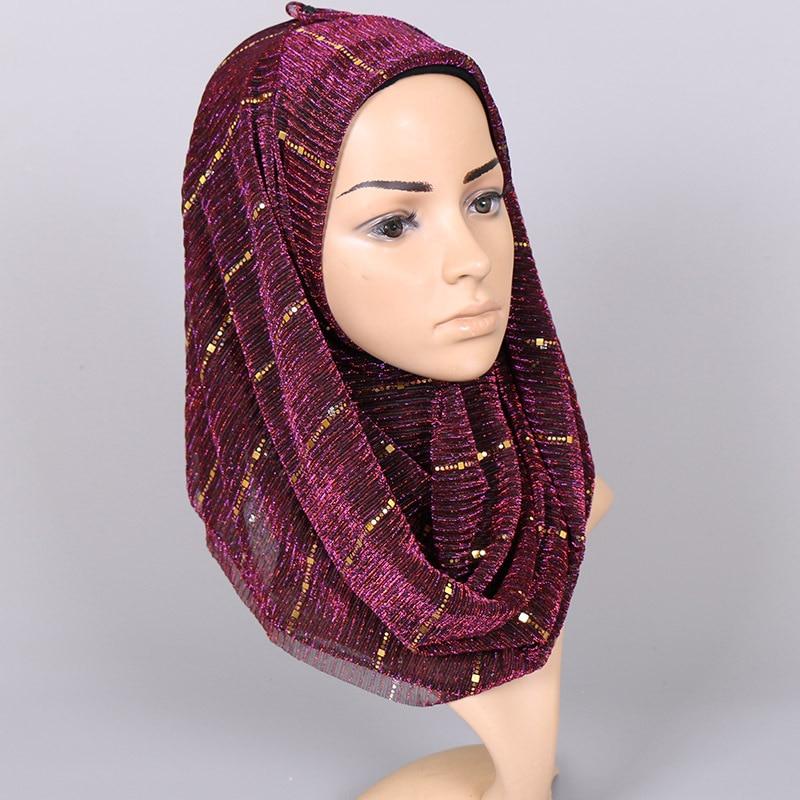 Image 3 - Beautiful! Magic filament Sequin Scarves Women Muslim Hijabs  Shimmer Lurex Long Shawl Wrinkled Islamic Wedding Veil Head  CoverWomens Scarves