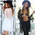 Mujeres atractivas Del Verano Blusas Cardigan Kimono Negro de Encaje Blanco Borla Cardigans Ahueca Hacia Fuera Las Mujeres Del Verano Casual Long Beach Cubre Sube
