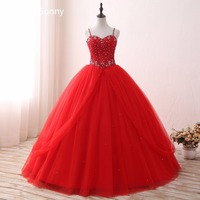 Spaghetti Strap 2018 Hot Sale Ball Gown Quinceanera Dresses Long Red Tulle Appliques Beaded Sleeveless Puffy Sweet 16 Dress