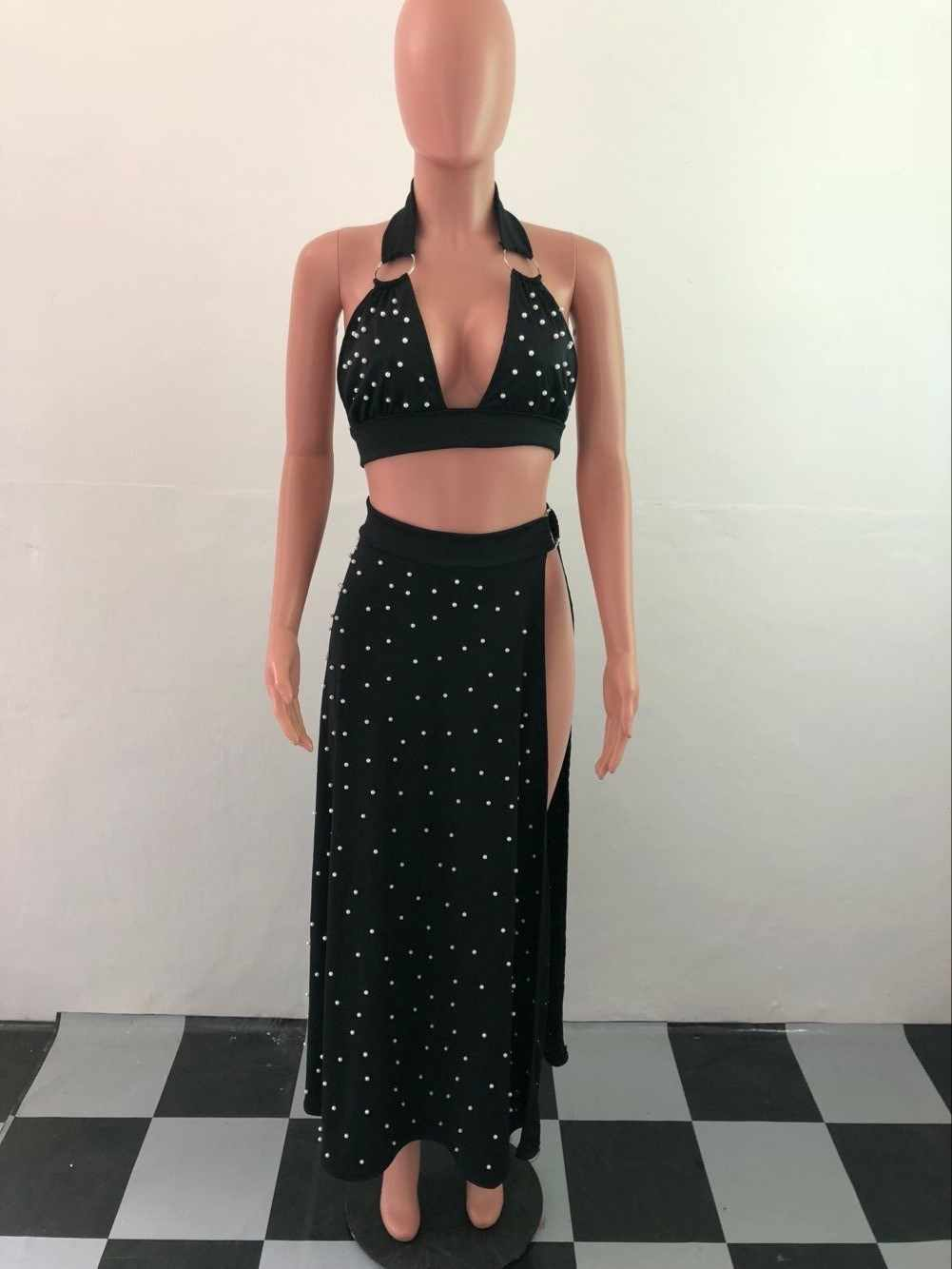 d7efd7e49ef ... 2019 Women Summer Two Piece Maxi Dress Pearls Beading Halter Backless  Party Dresses High Slit Sexy