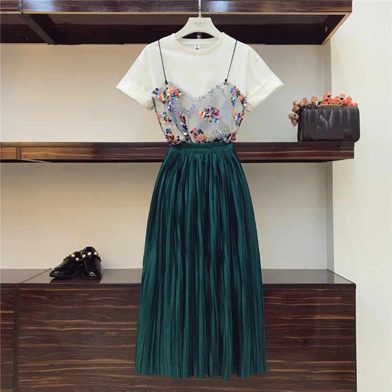 2019 夏の女性のツーピースセットスパンコールパッチワークメッシュ Tシャツ & 帝国固体ベルベットプリーツスカートセットハイストリートファッション