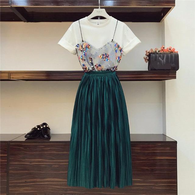 2019 conjunto duas peças de camiseta e saia plissada, com lantejoulas e malha de retalho império, sólida veludo, moda de rua alta