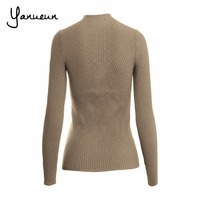 Yanueun Korean Fashion Women Pullovers Turtleneck Knit Shirt Long Sleeve Stretched Solid Sweater Tops 2016 Fall Winter Jumper 3