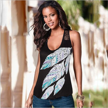 New 2016 ladies summer time vests Plant Print Back Hollow Out Vest camisole Sexy trend tank tops