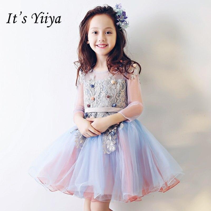 It's yiiya New Patchwork   Flower     Girl     Dresses   Elegant O-neck Ball Gown Appliques   Girl     Dress   TS250